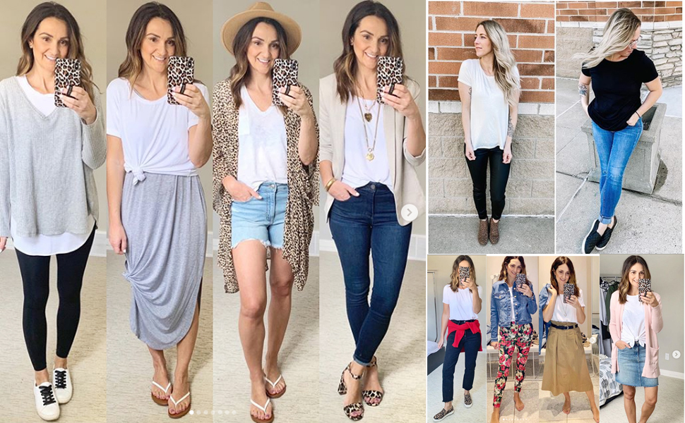 womens Basic Tee Casual Short Sleeve Side Split Lace Round Neck Loose Fit Tops T-shirts