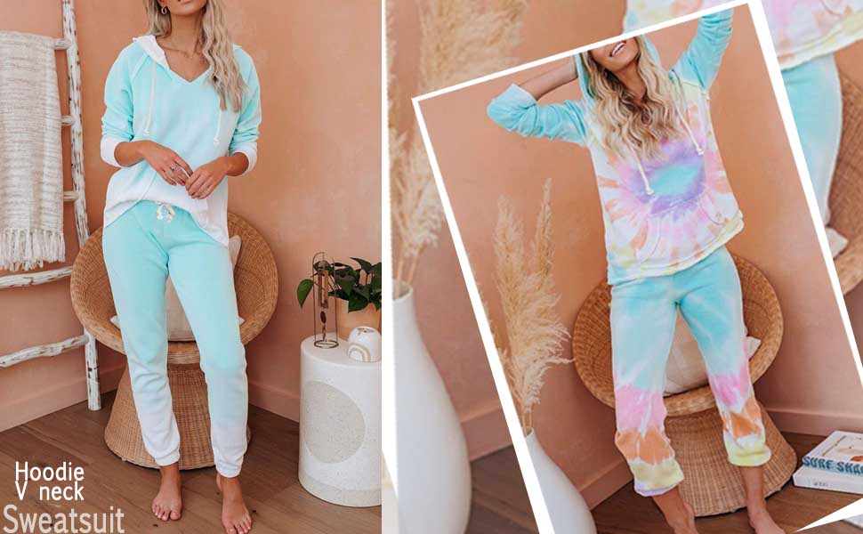 tie dye sweatsuits 2 piece outfits hoodie tops