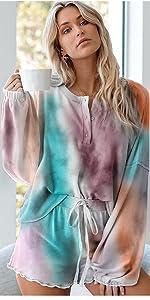 Women Tie Dye Pajama Short Set V-Neck Nightwear Sleepwear Multicoloured