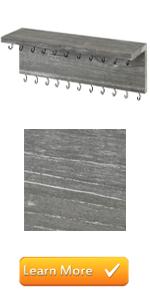gray grey wood wall mounted 26 hook jewelry organizer