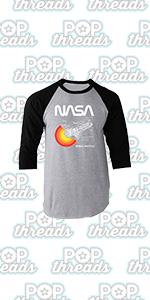 Pop Threads NASA Approved Space Program Logo Retro Graphic Raglan Baseball Tee Shirt