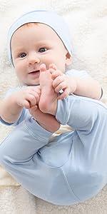 organic bamboo long pants for infant baby toddler in blue for boys safe drawstring shower gift