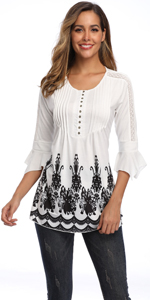 henley bell sleeve blouse