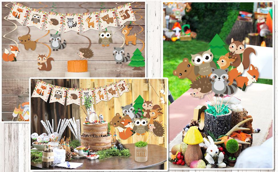 Woodland Animal Party Decorations Set