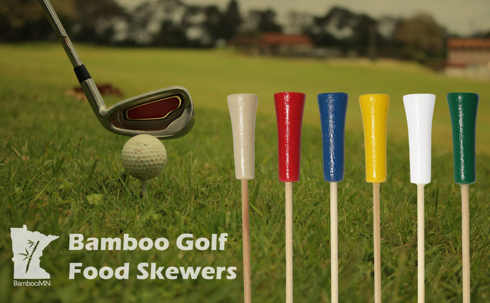 bamboomn bamboo golf end food picks skewers club sandwich burger ball tee green drinks cocktails