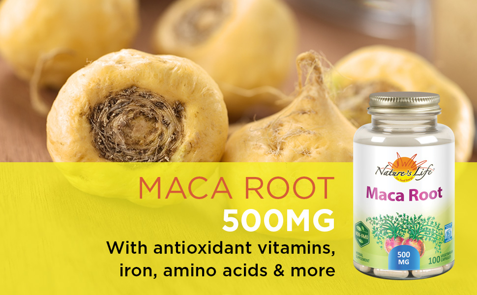 Nature's Life Maca Root 500 Herbal Supplement Healthy Balance Energy Support Formula 100ct