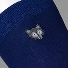 Ski sock knee length sock with tundra wolf logo navy 80% wool performance sock
