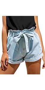 women sewn cuff high waisted denim jean shorts