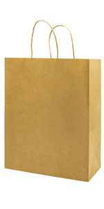 Medium Not Thickened 8*4.75*10 inch Brown 100Pcs Kraft Bags with handles