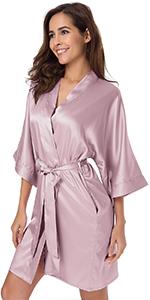silk robe for women pink