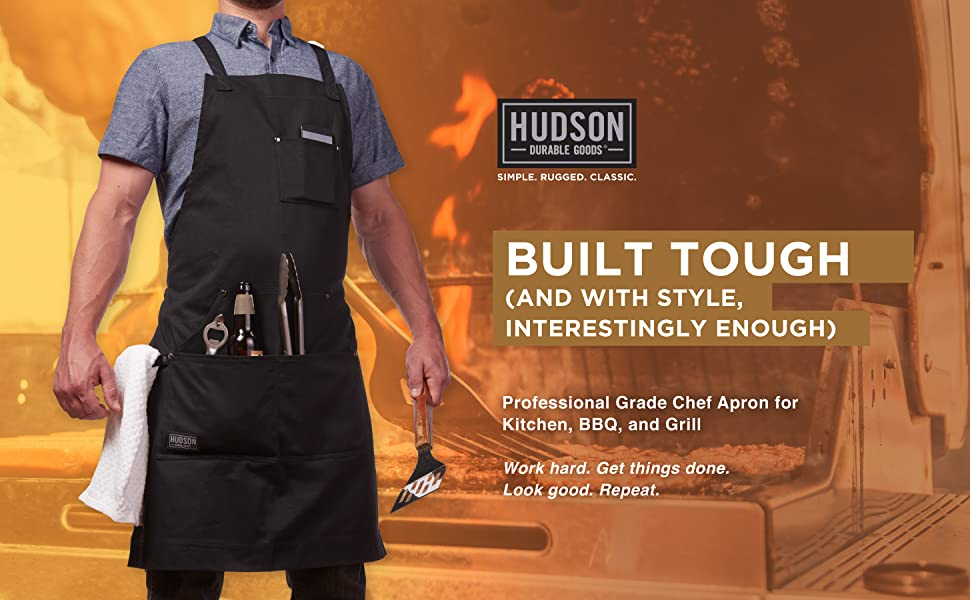 Hudson black cotton apron full front pocket