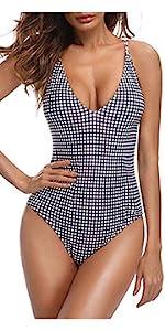 Women V-Neck Sexy Plaid One Piece Swimsuit Monokini