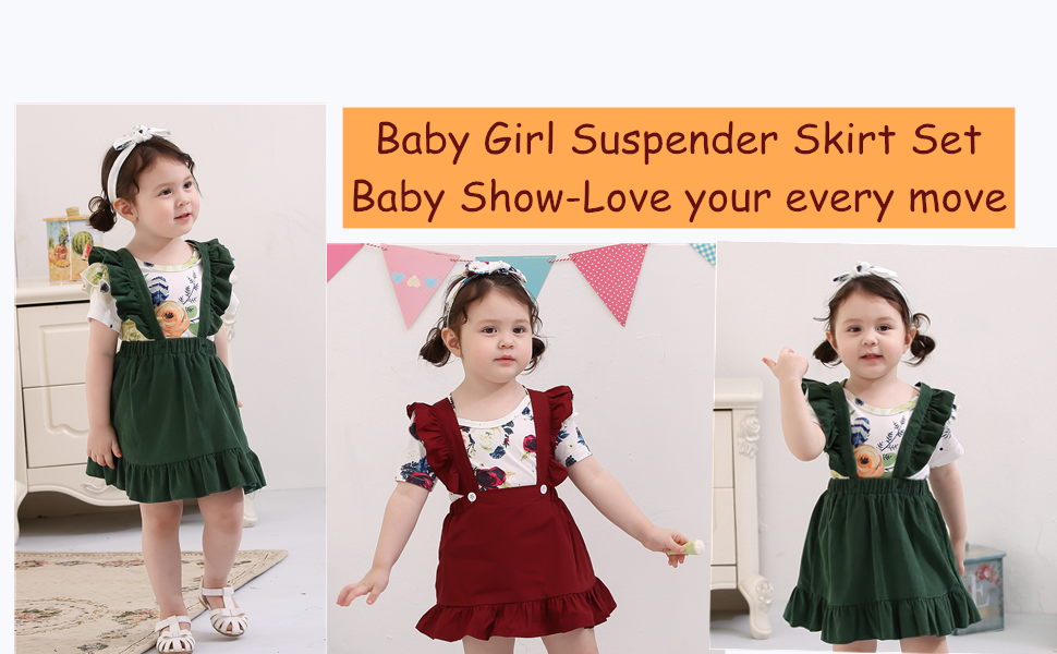 Floral Print Suspender Skirts Rompers Outfits Toddler Baby Girls Fall Long Sleeve Solid Tops
