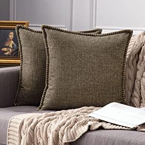 farmhouse linen pillow covers coffee vintage retro rustic