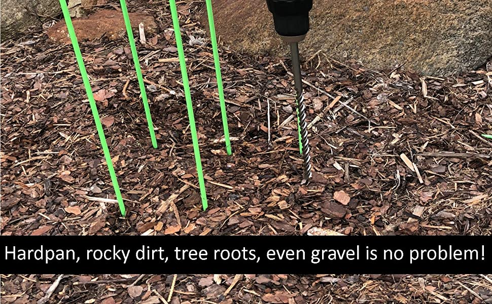 Hardpan, rocky dirt tree roots, even frozen ground is no problem for garden stakes and tomato cages