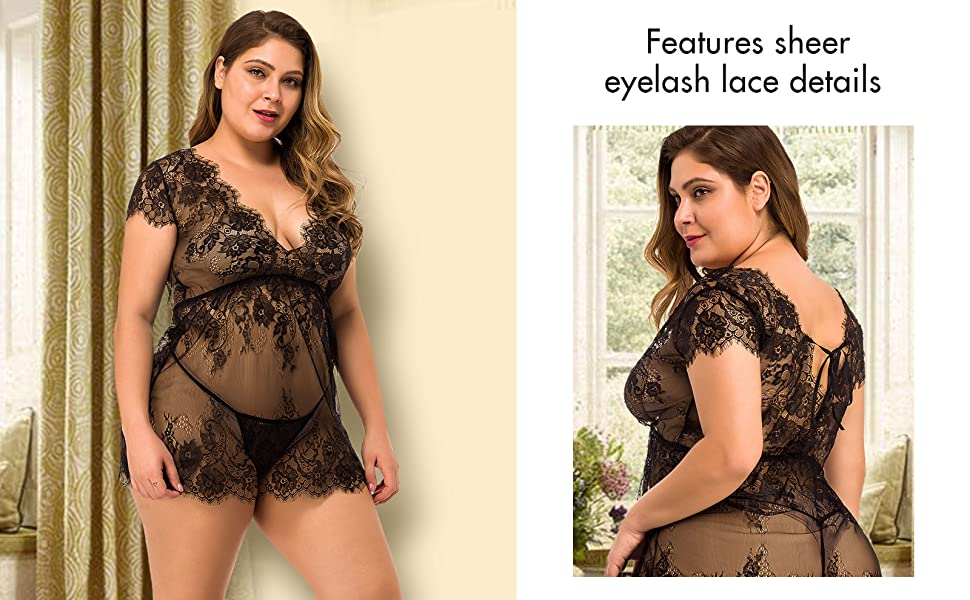 XAKALAKA Women Sexy Plus Size Lingerie Eyelash Lace Babydoll Nightwear Set Sheer Chemises