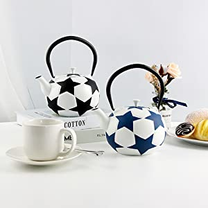 cast iron tea kettle with infuser Japanese teapot set blue iron stove top tea pot whistling