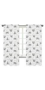 Pink and Grey Jungle Sloth Leaf Window Treatment Panels Curtains - Set of 2