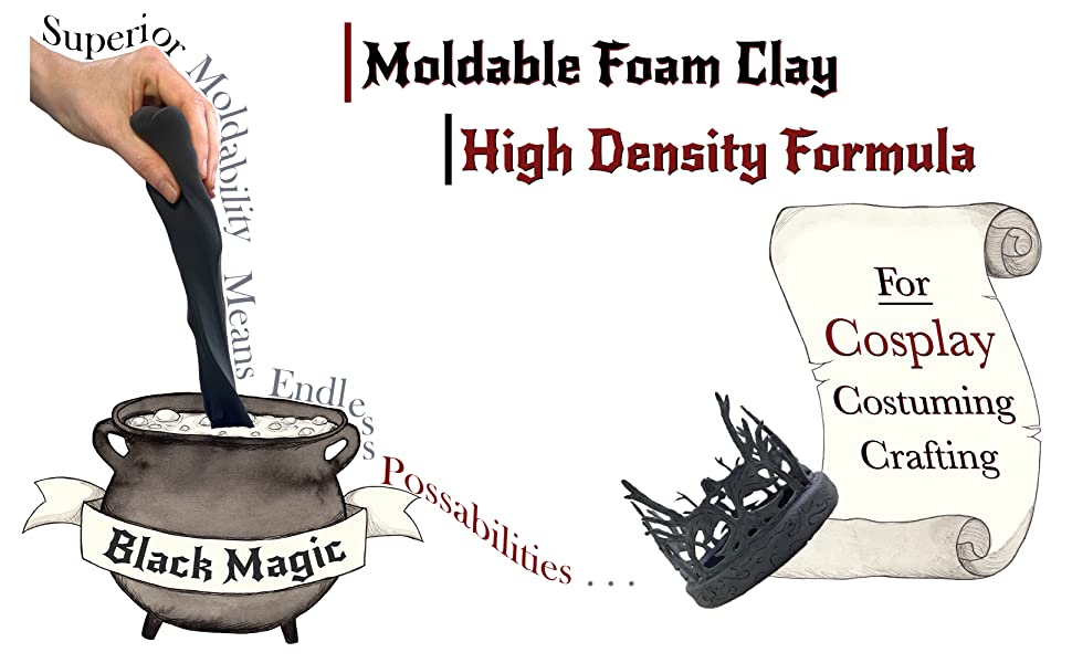 Black Magic Moldable Cosplay Clay 900g Superior Moldability by The Foamory