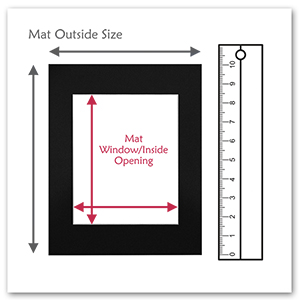 black color mat measurement outside size and opening ruler