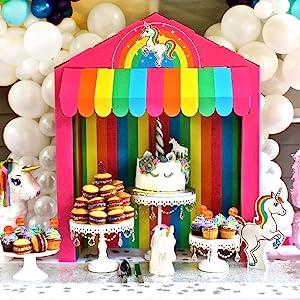 Silver Lining Rainbow Unicorn Birthday Party table top awning with rainbow cardboard scallop LGBTQ