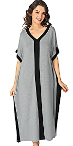 Women's Soft Full Length Loungewear Caftan Short Sleeves Maxi Nightgown