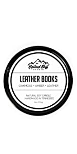 Leather Books Soy Candle