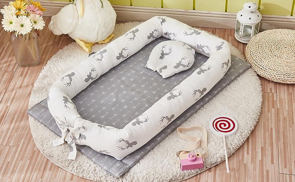 brandream deer baby lounger grey for baby girls and boys