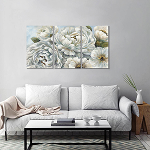 Abstract White Blossom Peony Flowers Wall Picture