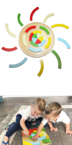 wooden circle rainbow shape puzzle for kids 2 3 4 years old toddler