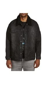 True Nation by DXL Big and Tall Stretch Denim Jacket with Removable Collar