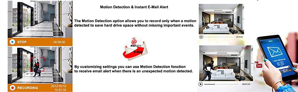 motion detection email alert function
