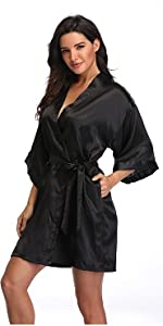 pure color satin short robes