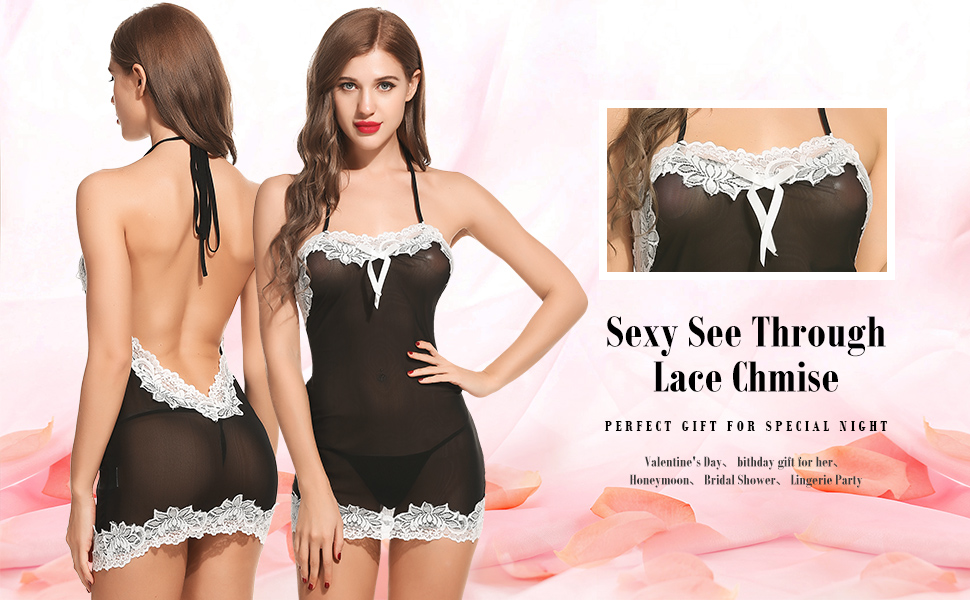 Halter Backless Lace Trim Babydoll