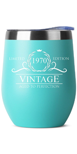 1970 50th Birthday Gifts for Women Men - 12 oz Mint Insulated Stainless Steel Tumbler w/Lid
