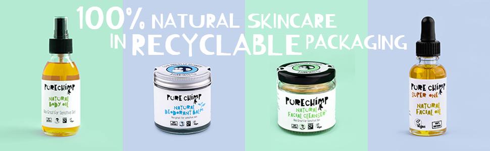 PureChimp natural skincare deodorant charcoal sensitive skin body oil facial oil cleanser
