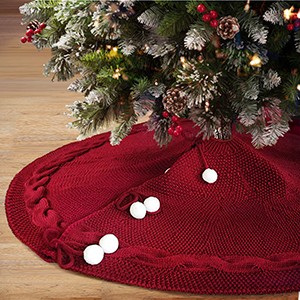 Loozykit Christmas Tree Skirt 48 Inches Knitted Tree Skirt Red Thick Rustic Xmas Tree Mat for Holiday Decoration New Year Party Burgundy Knit Tree Skirt