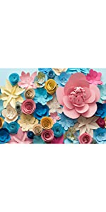 Colorful Paper Flowers Mexican Style Backdrops 7x5ft Valentines Day Decorations Banner