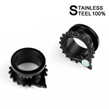 black ear tunnels