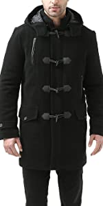BGSD Men's Tyson Wool Blend Leather Trimmed Toggle Coat
