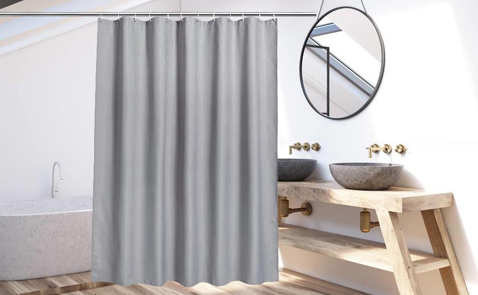 silver grey shower curtain