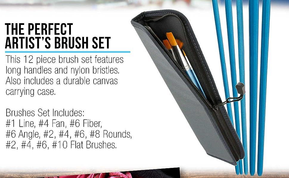 U.S. Art Supply 12 Piece Long Handle Brush Set