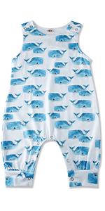 baby boys girls whale romper