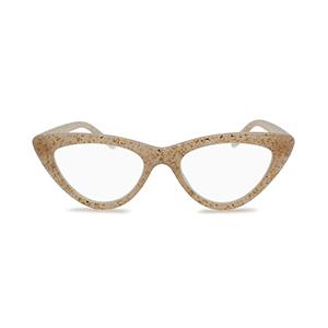 trendy glitter cat eye reading glasses for women ivory tan color