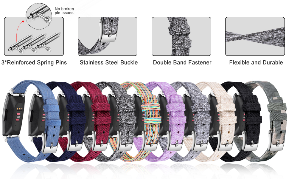 various stylish colors for these woven fabric Inspire HR bands