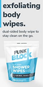 FunkBlock Shower Wipes