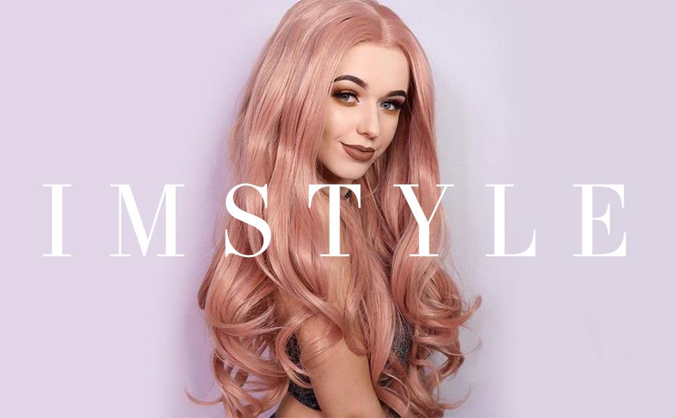 pastel rose pink wig