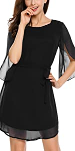 3/4 Split Sleeve Chiffon Dress with Belt
