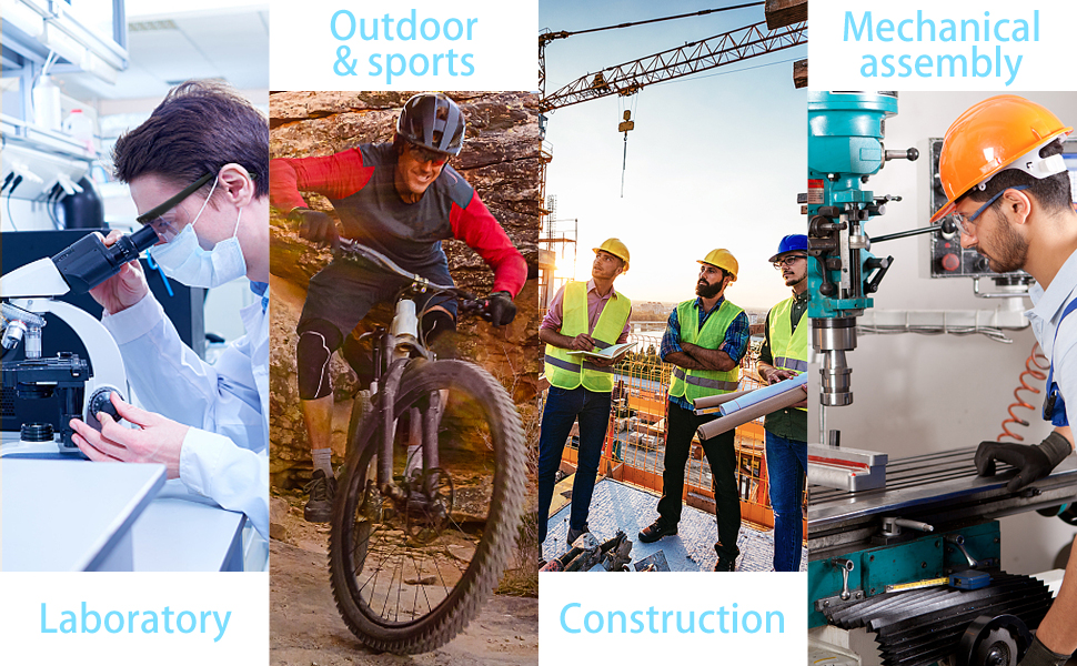 safety glasses, laboratory, outdoor&sports, construction, mechanical assembly