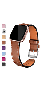 brown leather band for fitbit versa